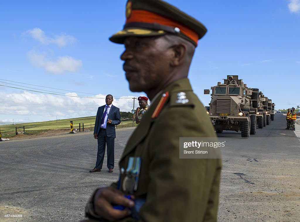 Security is tight for the Nelson Mandela funeral with the Army and Police on full display, Qunu, South Africa, 14 December 2014. An icon of democracy, Mandela was buried at his family home in Qunu after passing away on the 5th December 2013.