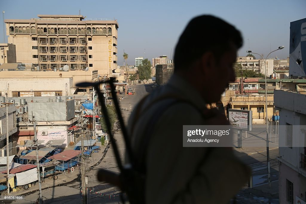 Security measures are being taken at the Jihad Hotel which was cleared of Daesh after being kept by terrorists for two days, as Iraqi security forces patrol on Kirkuk streets where efforts to clear Daesh continue in Kirkuk, Iraq on October 22, 2016. Thirteen people were killed on Friday by a Daesh suicide attack on a power plant in the northern Iraqi city of Kirkuk. A curfew was imposed in Kirkuk in the wake of other attacks, security sources said.