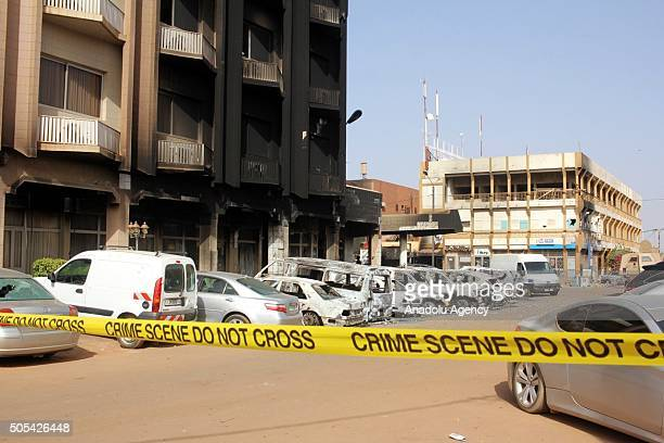 Security measures are taken outside Splendid Hotel on January 17 after gunmen attacked on January 15 in Burkina Faso's capital Ouagadougou
