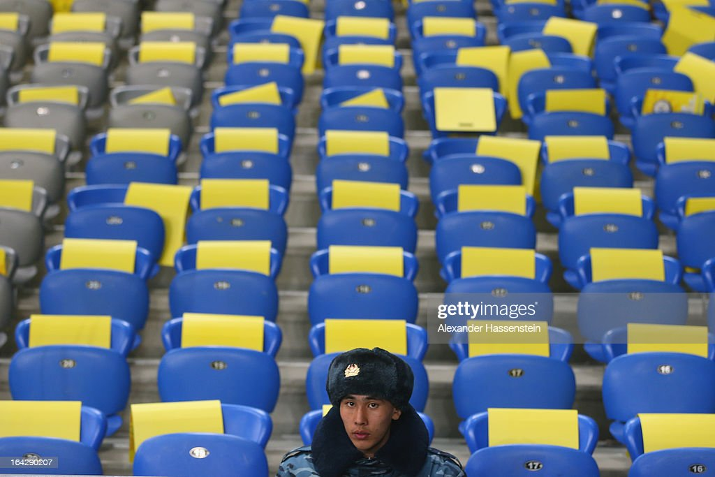 Security officer looks on prior the FIFA 2014 World Cup qualifier group C match between Kazakhstan and Germany at Astana Arena on March 22, 2013 in Astana, Kazakhstan.
