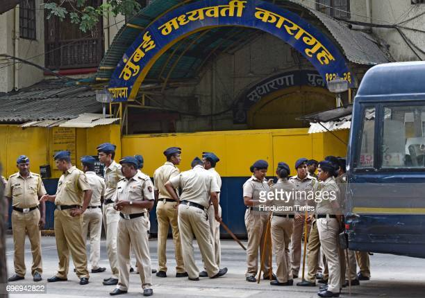 Security outside Arthur Road Jail on June 16 2017 in Mumbai India A Special Terrorism and Disruptive Activities Act Court found Abu Salem and Mustafa...