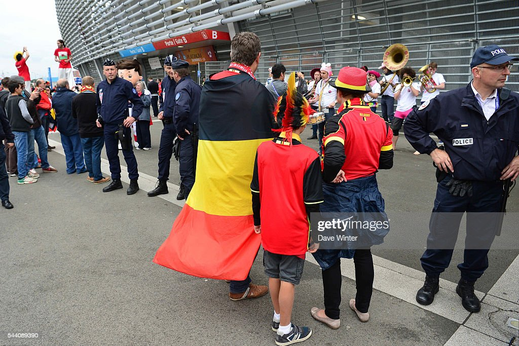 Security outside the stadium before the UEFA Euro 2016 Quater Final between Wales and Belgium at Stade Pierre-Mauroy on July 1, 2016 in Lille, France.