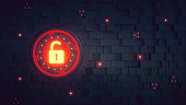 A wallpaper design of an unlocked security mechanism integrated into a wall of randomly protruding cubes. The padlock is glowing in yellow color and the surface has some sparse lights shining out. Thi