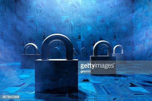Security padlocks in virtual environment, concept