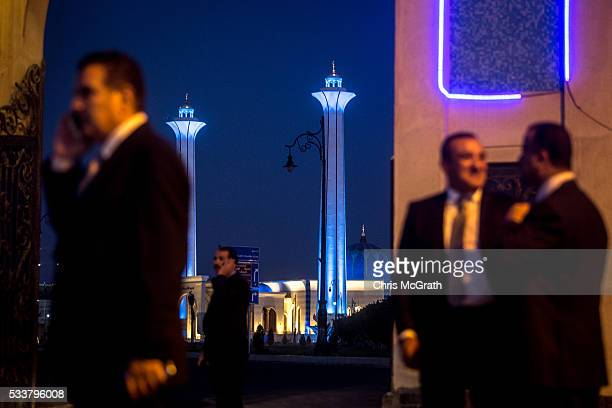 Security personel stand guard outside the ElMosheer Tantawy Mosque ahead of the memorial ceremony held by EgyptAir for realtives and family members...
