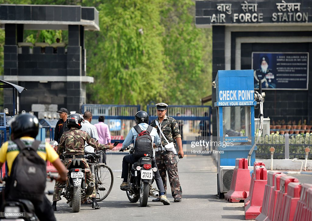 Security check people at gate as joint search operation being carried on by police and Airforce team at Hindon Airbase after a man was noticed in early hours of the day by the security staff on May 6, 2016 in Ghaziabad, India. During search, the joint team of air force and police personnel nabbed the man named Sonu Jatav, aged 24 roaming under suspicious circumstances. According to police sources he seems to be retarded but was detained for further investigation by agencies.