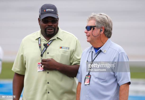 NASCAR security personnel during qualifying for the Fred's 250 NASCAR Camping World truck race on October 14 at the Talladega Superspeedway in...