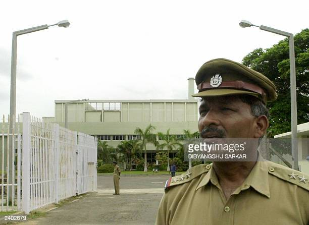 Security personnel guard the entrance to the Kalpakkam Reprocessing Plant in Kalpakkam 70 KM South of Madras 06 August 2003 Six people who were...