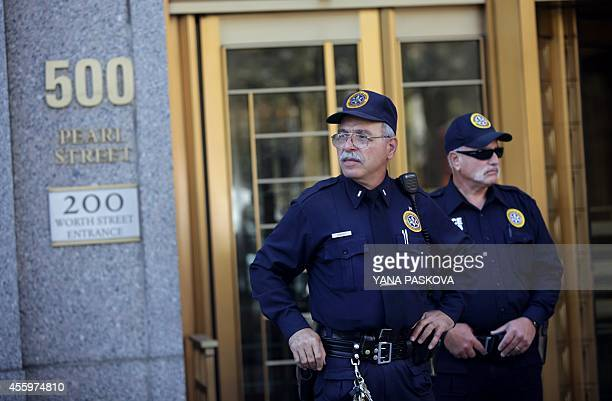 Security personnel guard the federal courthouse in Manhattan after a US court sentenced Osama bin Laden's soninlaw and former AlQaeda spokesman...