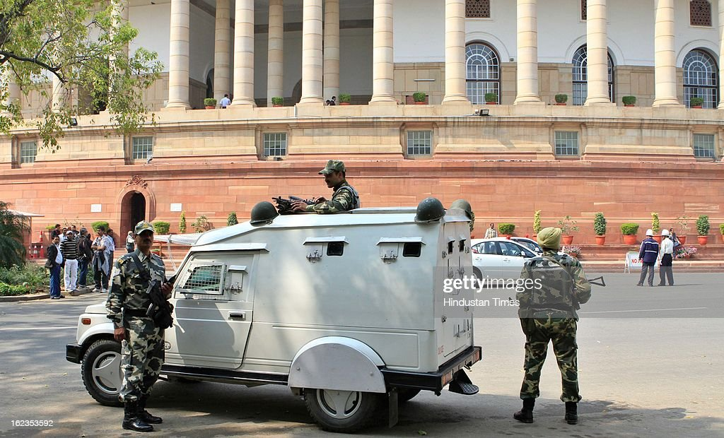 Security personnel on high alert following blast in Hyderabad , at Parliament during the budget session, on February 22, 2013 in New Delhi, India. The Hyderabad twin blasts issue rocked parliament as the opposition parties attacked the government after Home Minister Shinde said there were prior intelligence reports about the blasts.