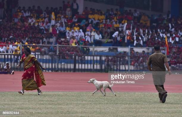 Security personnel runs after a stray dog which entered the participation arena during Karnataka Rajyotsava celebration at Kranteerava stadium on...
