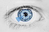 Abstract Security Iris or Retina Scanner being used on an Intense Macro Blue Human Eye, with Limited Palette