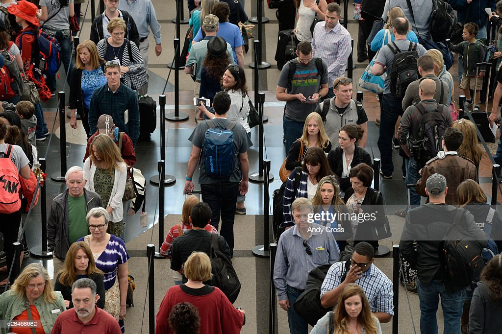 Security screening lines at the south end of Denver International Airport May 05, 2016.