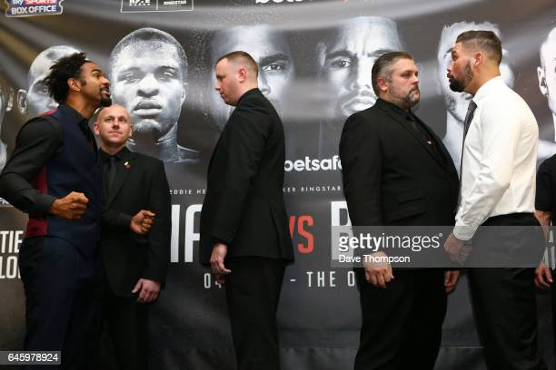 Security stand between David Haye and Tony Bellew during a press conference at the Hilton Hotel on February 27 2017 in Liverpool England Haye and...