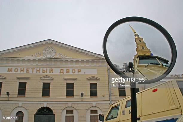 Security van in front of a building, St. Petersburg, Russia