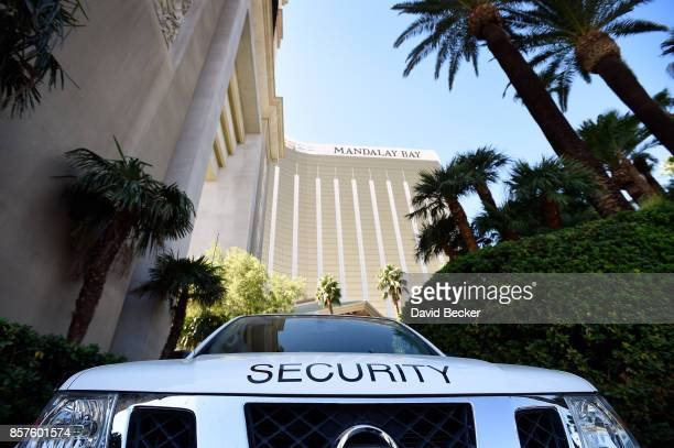 A security vehicle blocks an entrance at the Mandalay Bay Resort Caisno on October 4 2017 in Las Vegas Nevada Added security to some Las Vegas...