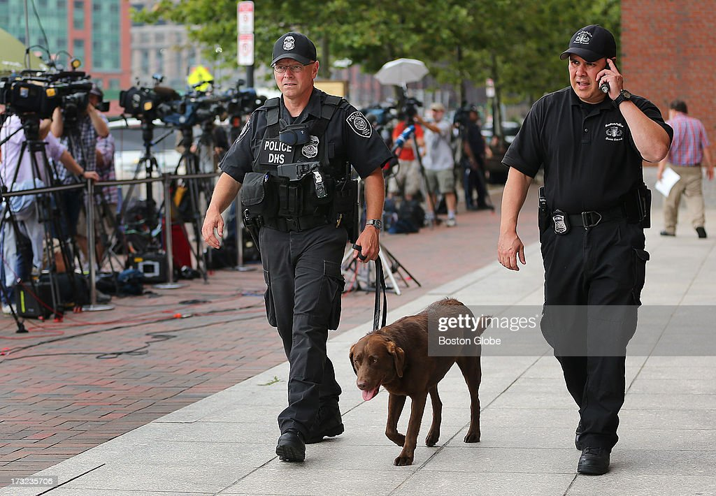 Security was tight as a bomb-sniffing dog makes its rounds out front of the courthouse. Alleged Boston Marathon bomber Dzhokhar Tsarnaev appeared for an arraignment at the John Joseph Moakley United States Courthouse to face charges in the Boston Marathon bombings.