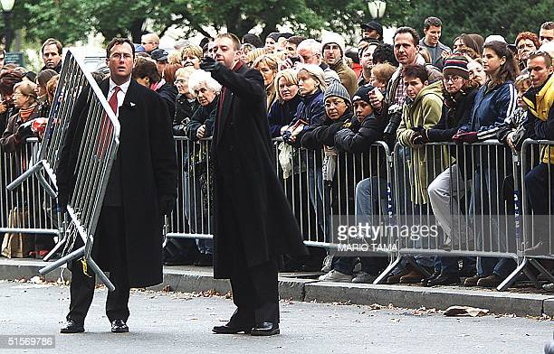 Security workers set up blockades outside the Plaza Hotel in preparation for the wedding of Michael Douglas and Catherine ZetaJones 18 November 2000...