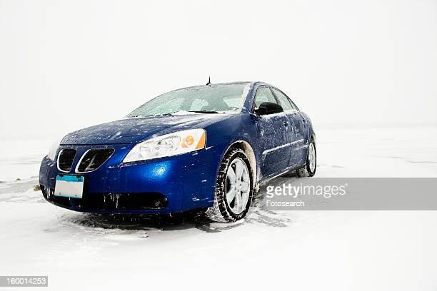 Sedan Parked on Ice sheet