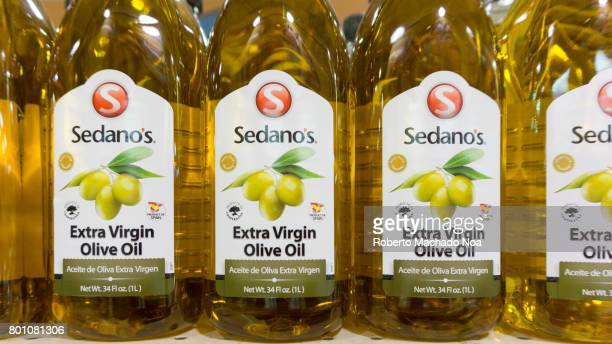 Sedanos Extra Virgin Olive Oil Row of one liter plastic bottles of Sedano's extra virgin olive oil on display in a store