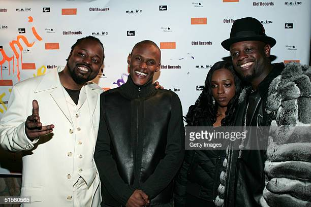Sedek Canibus Trini Don and Jerry Wonda pose at Wyclef Jean's birthday party presented by sponsor Miami Boutique Hotels October 26 2004 in New York...