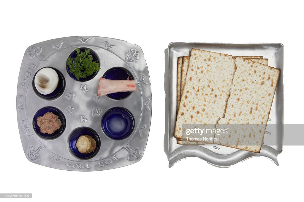 Seder plate and matzo, overhead view : Stock Photo