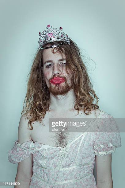 Seductive Male Prom queen in drag tiara on head lipstick