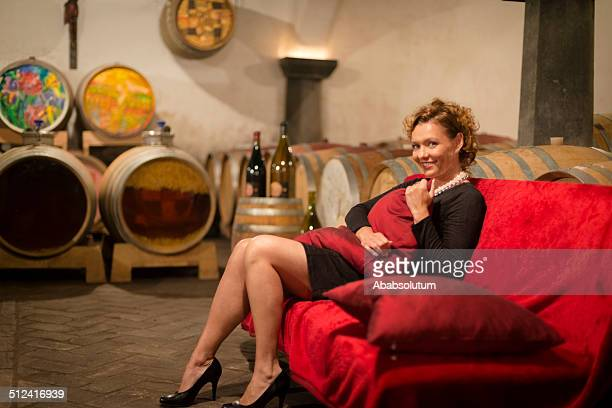 Seductive Mature Woman in Old Wine Cellar, Europe