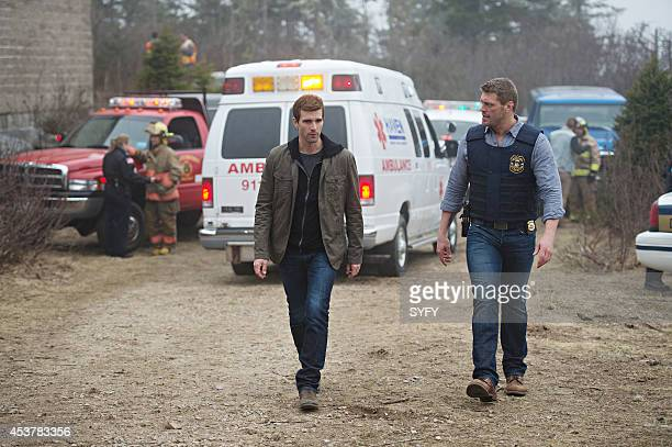 HAVEN 'See No Evil' Episode 501 Pictured Lucas Bryant as Nathan Wuornos Adam Copeland as Dwight Hendrickson