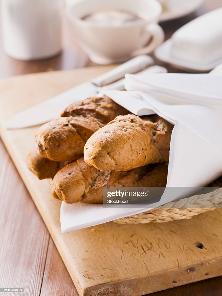 Seeded baguettes in a bread basket