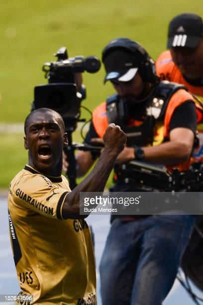 Seedorf of Botafogo celebrates a scored goal during a match between Botafogo and Corinthians as part of the Brazilian Serie A Championship at...