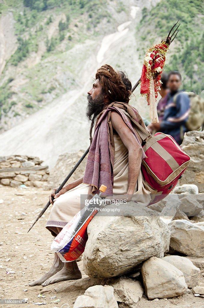 Seeking Salvation  a Sadhu on way to Amarnath : Stock Photo