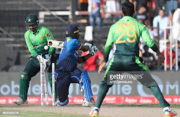 TOPSHOT Seekkuge Prasanna of Sri Lanka bats during the third one day international cricket match between Sri Lanka and Pakistan at Sharjah Cricket...