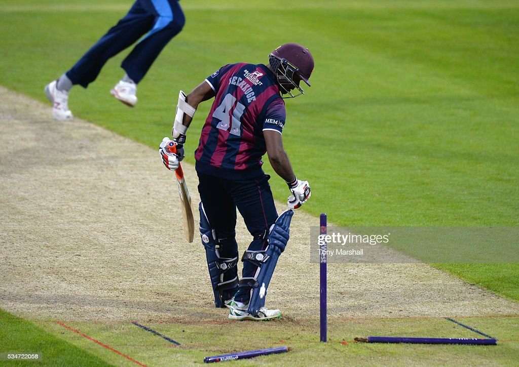 Seekkuge Prassana of Northamptonshire is bowled out during the NatWest T20 Blast match between Northamptonshire and Derbyshire at The County Ground on May 27, 2016 in Northampton, England.