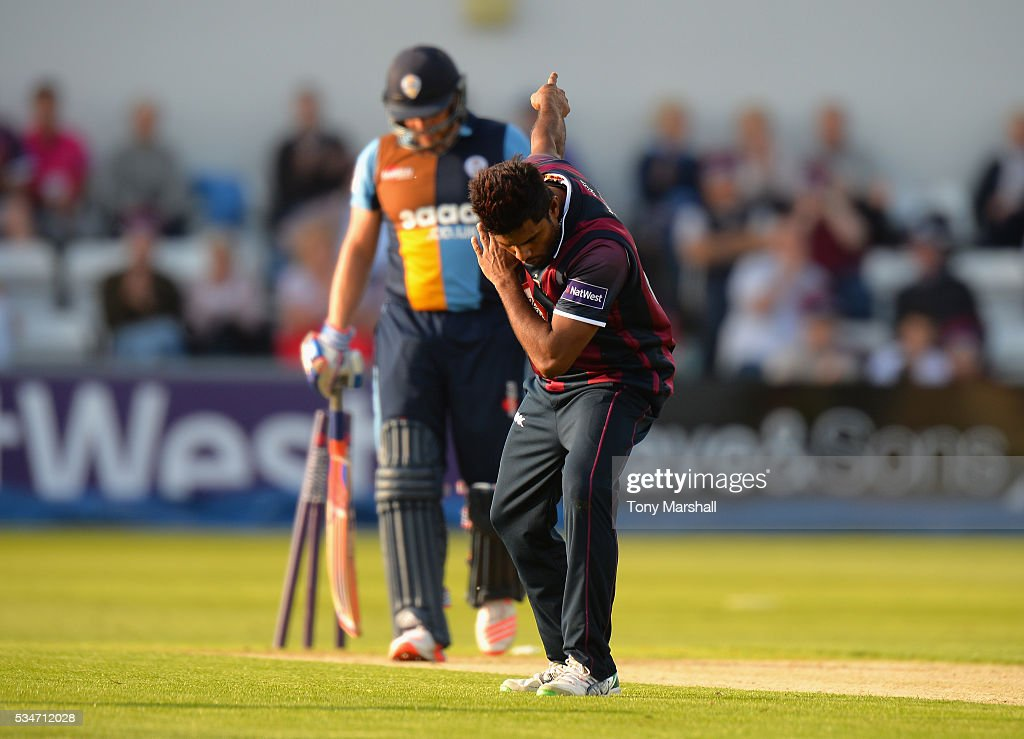 Seekkuge Prassana of Northamptonshire takes a bow as he takes the wicket of Wes Durston of Derbyshire during the NatWest T20 Blast match between Northamptonshire and Derbyshire at The County Ground on May 27, 2016 in Northampton, England.