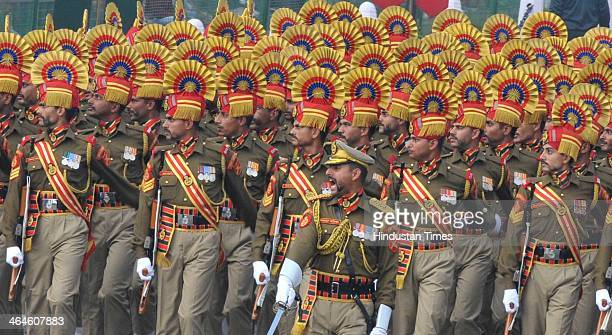 Seema Surksha Bal jawans passing through the saluting base during the full dress rehearsal for Republic Day Parade at Rajpath on January 23 2014 in...