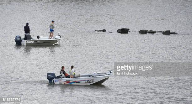 Seen are people fishing and boating on the Fitzroy river on July 09 2017 in Rockhampton Australia