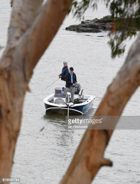 Seen are people fishing on the Fitzroy river on July 09 2017 in Rockhampton Australia