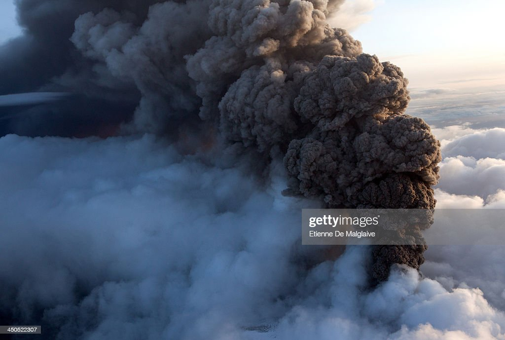 Seen from a Cesna aircraft, ash plume from Iceland's Eyjafjallajokull crater during it's eruption, spewing tephra and ashes that drift toward continental Europe on May 14, 2010 near Reykjavik, Iceland.