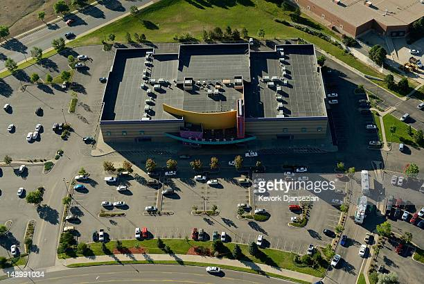 Seen from the air police continue to investigate outside the Century 16 movie theatre where suspect James Holmes went on a shooting rampage during an...