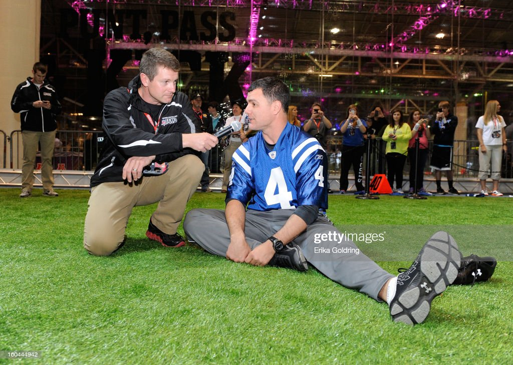 Seen here being interviewed by emcee Gordon Grant, Colts placekicker <a gi-track='captionPersonalityLinkClicked' href=/galleries/search?phrase=Adam+Vinatieri&family=editorial&specificpeople=204211 ng-click='$event.stopPropagation()'>Adam Vinatieri</a>, a 4-time Super Bowl champion, kicks for a good cause as he teams up with Barclaycard US and the NFL Extra Points Credit Card to donate $10,000 for the Brees Dream Foundation on January 31, 2013 in New Orleans, Louisiana.