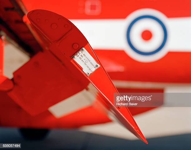 Seen in profile view we are looking at the edge of a Hawk jet aircraft port wing flap set at about 45 degrees Designed by BAE Systems and painted in...