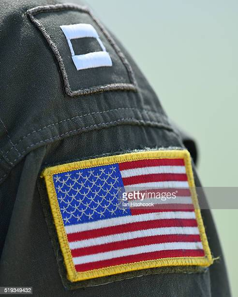 Seen is a flag patch and rank insignia worn by an United States Navy pilot from the VFA115 squadron during air operations on April 6 2016 in...