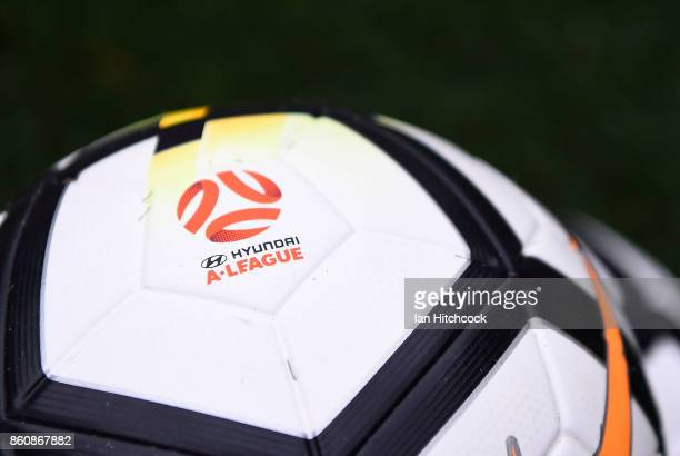 Seen is a game ball on the field of play before the start of the round two ALeague match between the Brisbane Roar and Adelaide United at Suncorp...