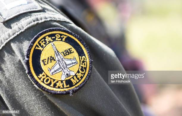 Seen is a patch worn by a United States Navy pilot from the VFA27 squadron during air operations on March 22 2017 in Townsville Australia Exercise...