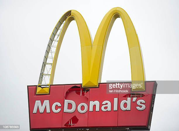 Seen is the damaged 'McDonalds' sign as a result of Cyclone Yasi on February 3 2011 in Townsville Australia So far no deaths or serious injuriees...