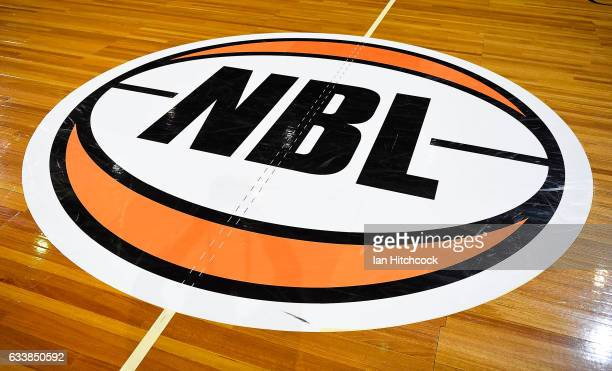 Seen is the National Basketbal League logo on the court before the start of the round 18 NBL match between the Cairns Taipans and the Perth Wildcats...