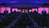 Seen on giant video screens above the convention floor US Health and Human Services Secretary Sylvia Mathews Burwell addresses the The American...