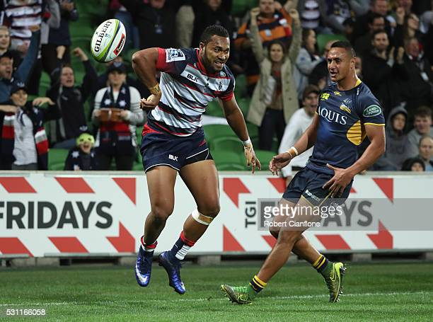 Sefa Naivalu of the Rebels celebrates after scoring during the round 12 Super Rugby match between the Rebels and the Brumbies at AAMI Park on May 13...