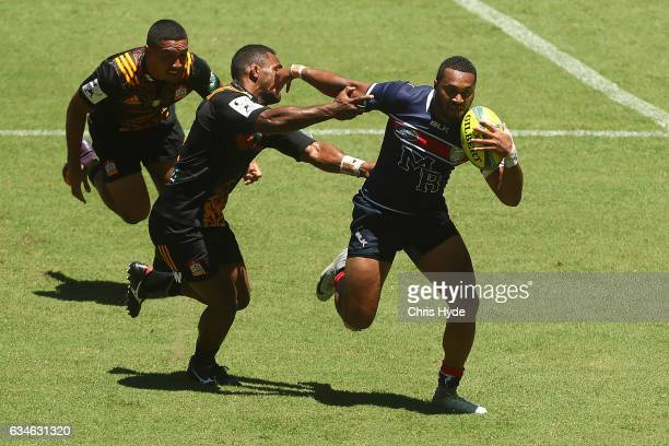 Sefa Naivalu of the Rebels runs the ball during the Rugby Global Tens match between Rebels and Chiefs at Suncorp Stadium on February 11 2017 in...